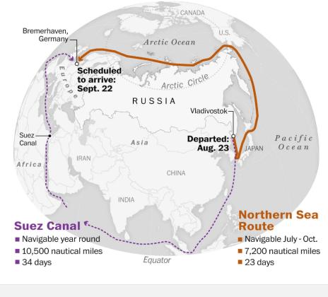 روسيا عبر بوتن تدعو العالم للإبحار عن طریق الممر الشمالي
